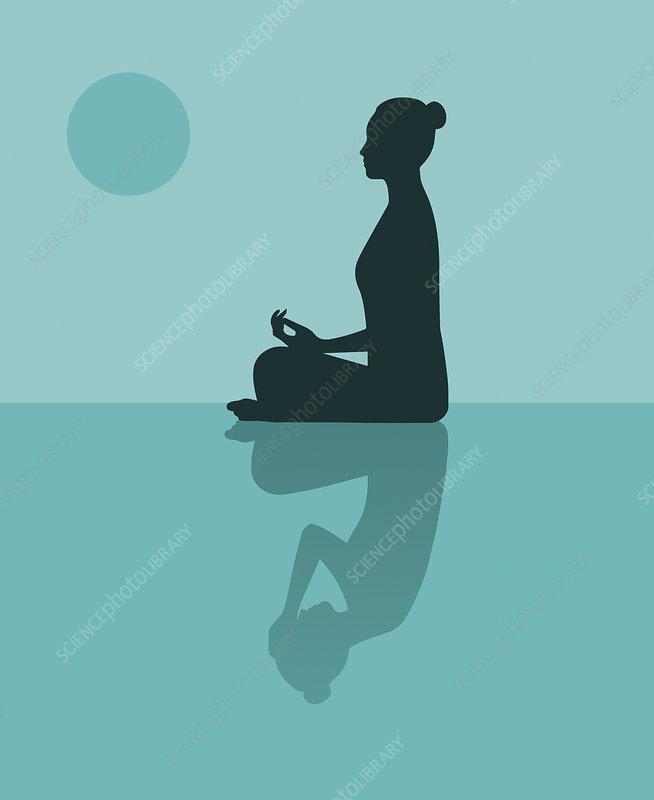 Woman practising yoga to combat depression, illustration