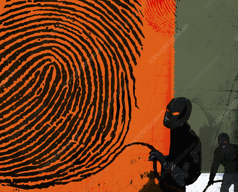 Masked robbers stealing fingerprint, illustration
