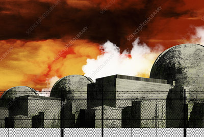 Nuclear power station against ominous red sky, illustration