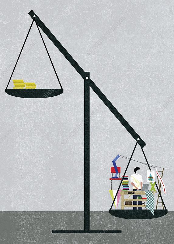 Busy overworked creative designer, illustration