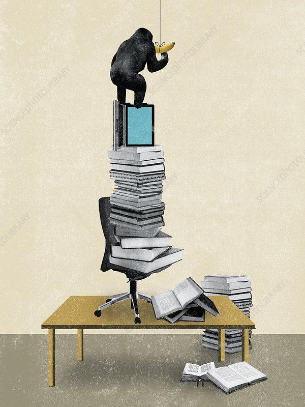 Gorilla reaching banana on pile of books, illustration