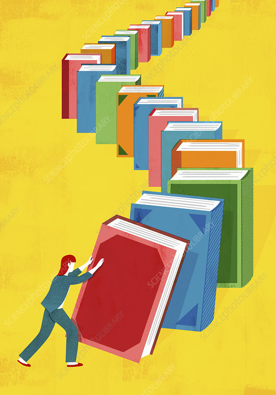 Woman pushing books in domino effect, illustration