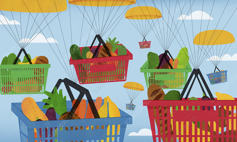Parachutes carrying shopping baskets, illustration