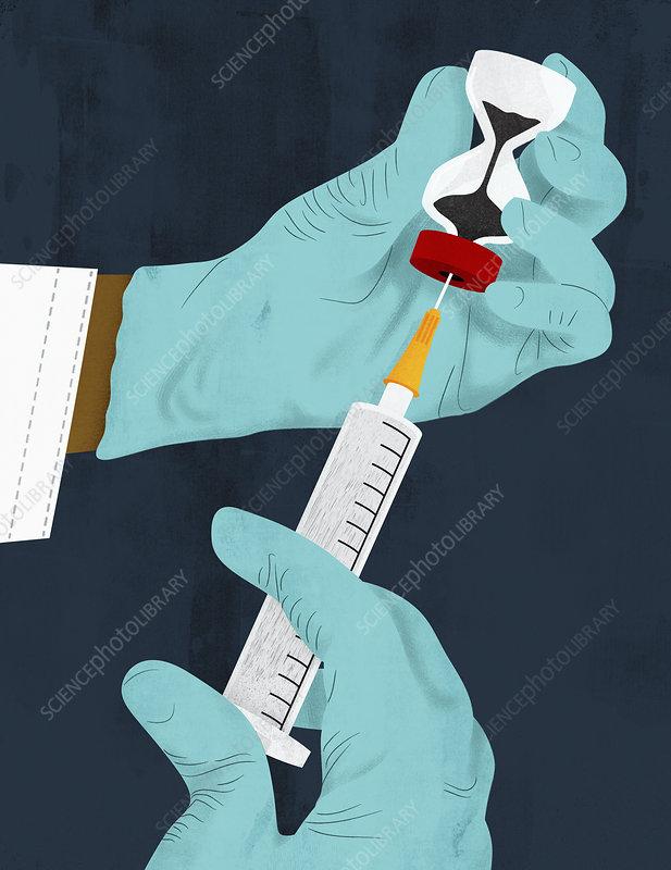 Doctor filling syringe from hourglass phial, illustration