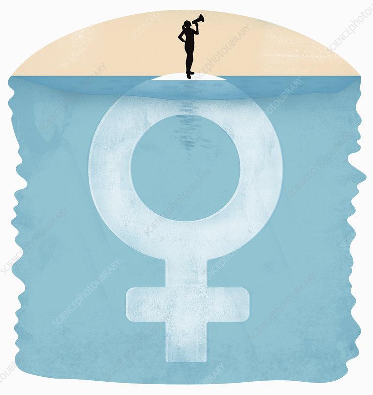 Woman making announcement, illustration