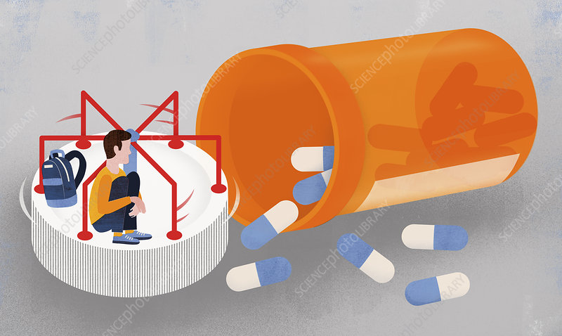 Boy on pill bottle roundabout, illustration
