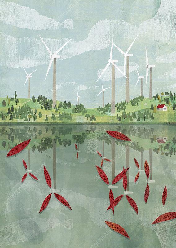 Wind turbine blades reflected in lake, illustration