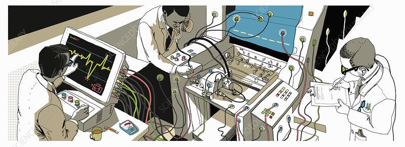 Doctors monitoring health of paper printer, illustration