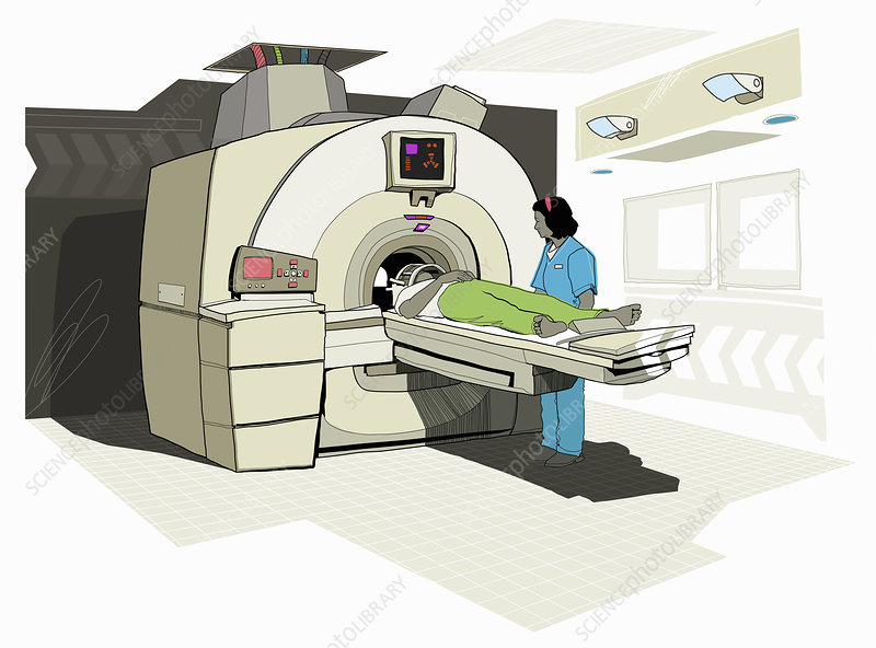 Patient having MRI scan, illustration