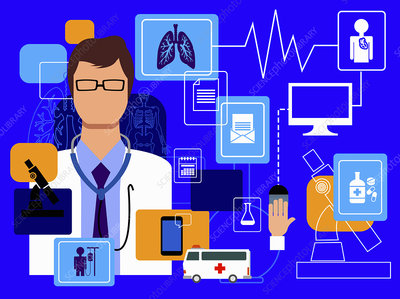 Doctor and computer technology in healthcare, illustration