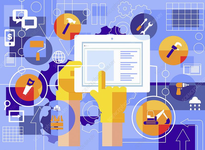 Construction worker using digital tablet, illustration