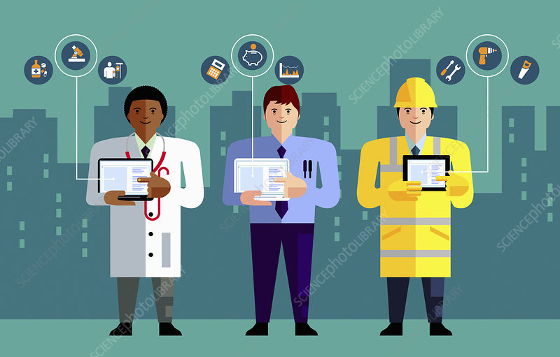 Different professions using computers, illustration