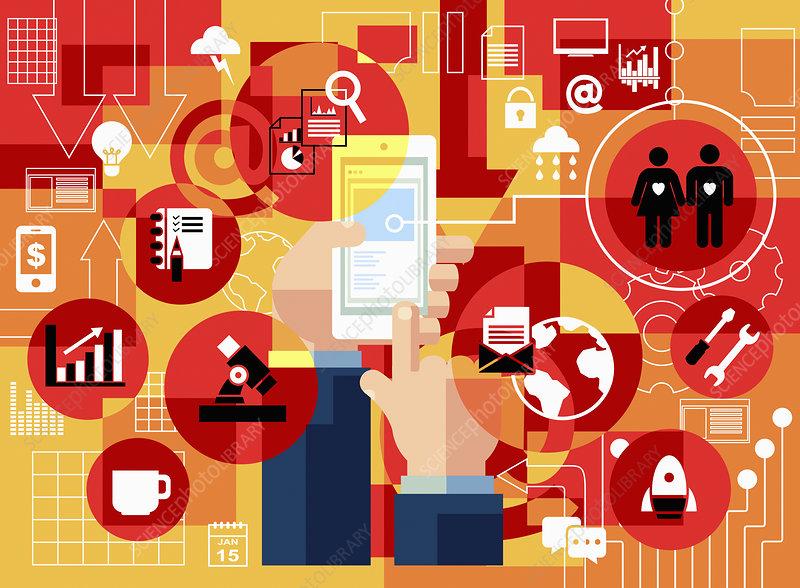 Man using smart phone, illustration