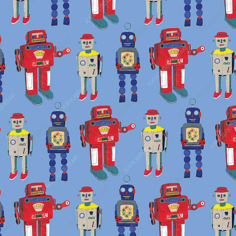 Retro robot toys standing in a row, illustration