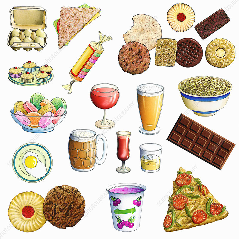 Variety of unhealthy eating food and drink, illustration