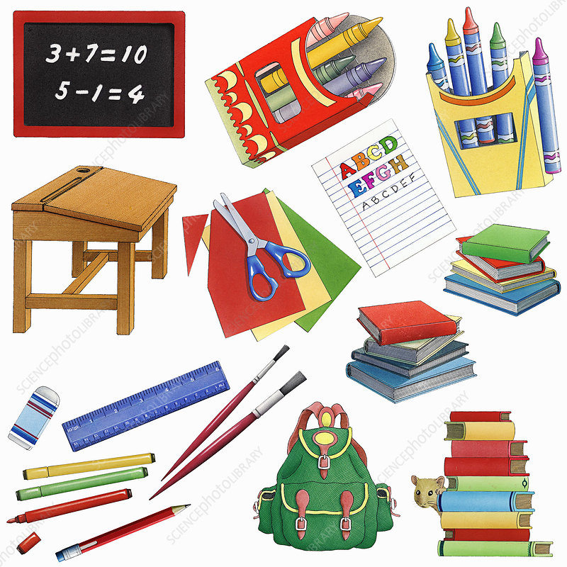 Back to school supplies, illustration