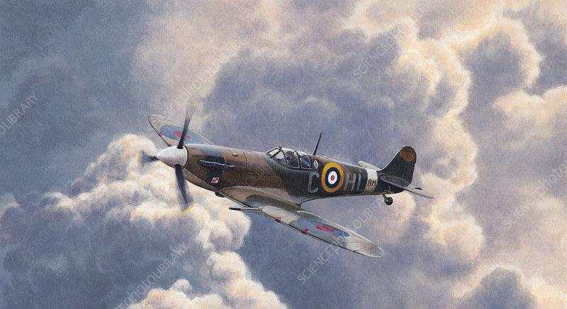 Spitfire plane flying in storm cloud, illustration