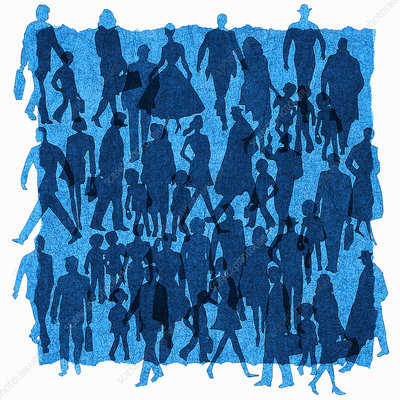 Crowd of people walking in silhouette, illustration