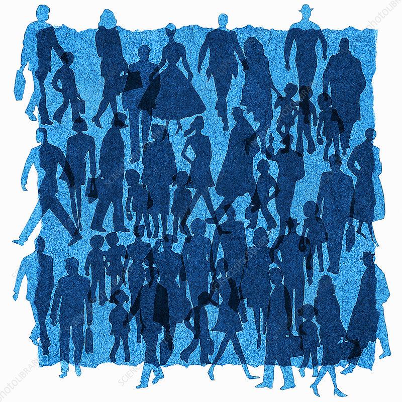 Crowd of people walking in silhouette, illustration