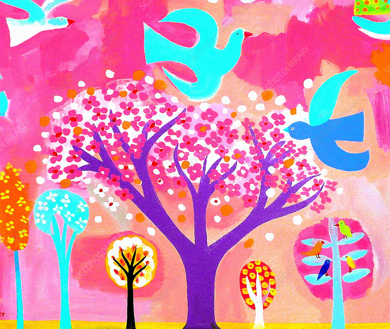 Neon coloured birds and flowering trees, illustration