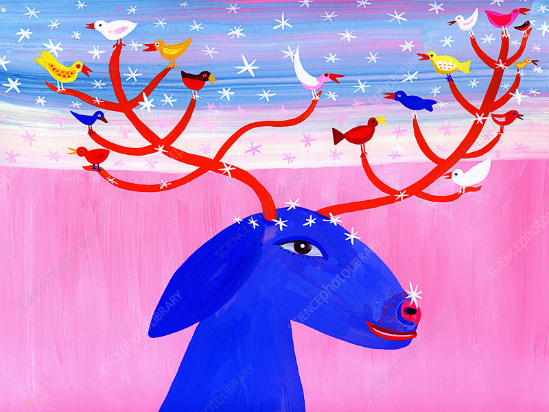 Birds perching on antlers of reindeer in snow, illustration