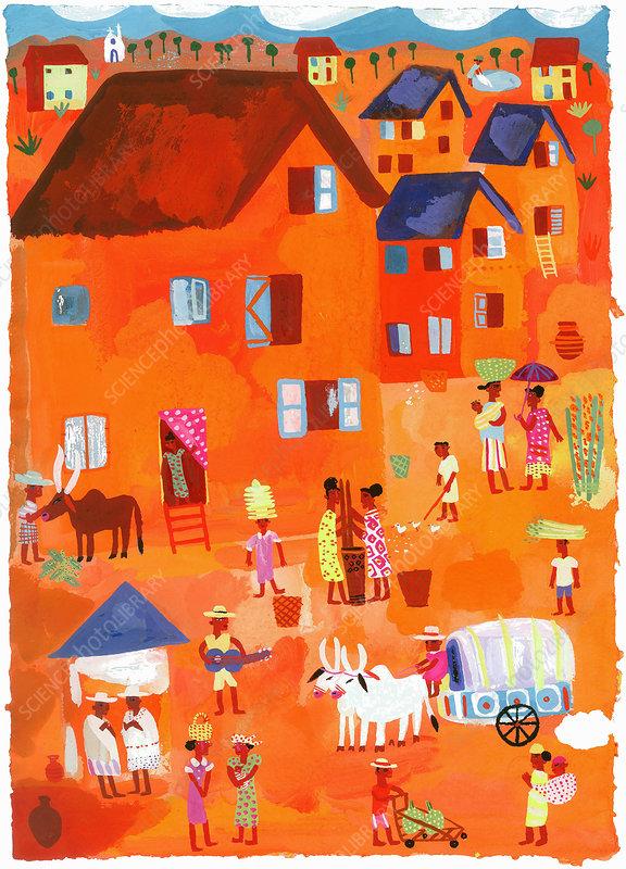 People in traditional village scene, illustration