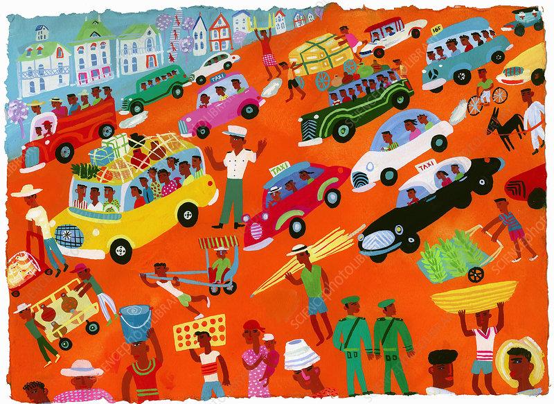 Busy city street scene, illustration