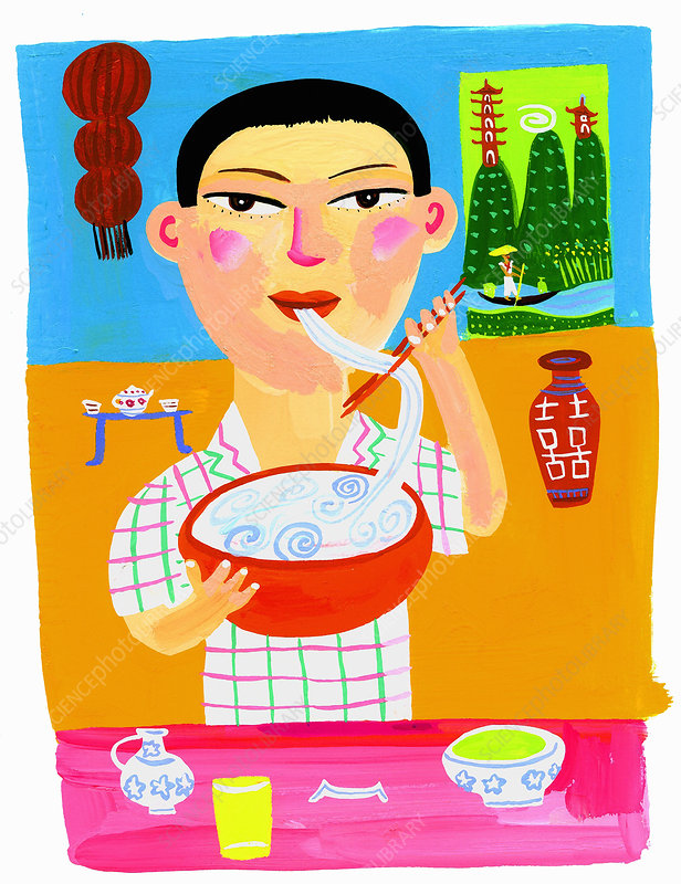 Chinese teenage boy eating bowl of noodle soup, illustration