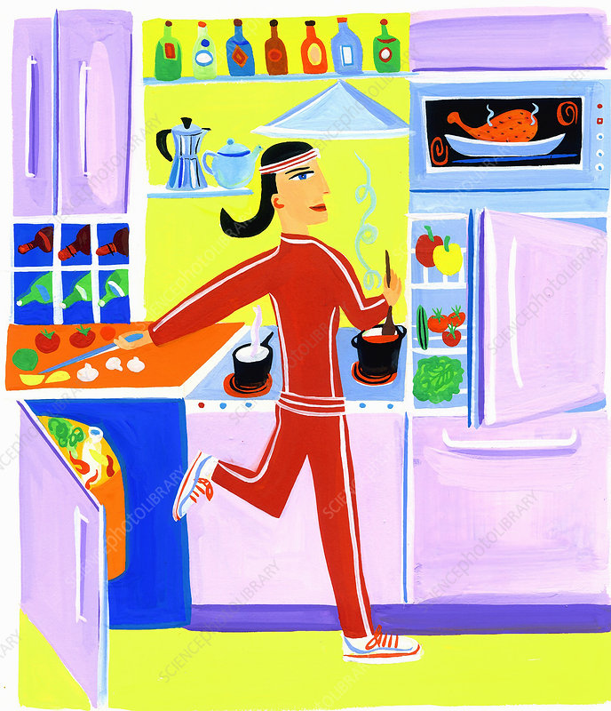 Efficient woman preparing healthy food, illustration