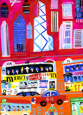 Busy city street scene in Hong Kong, China, illustration