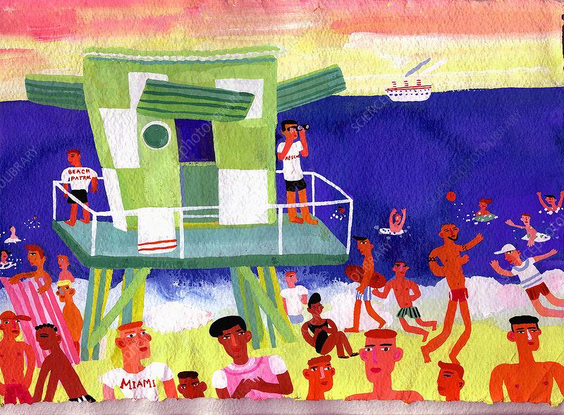 Lifeguard station on beach in Miami, illustration