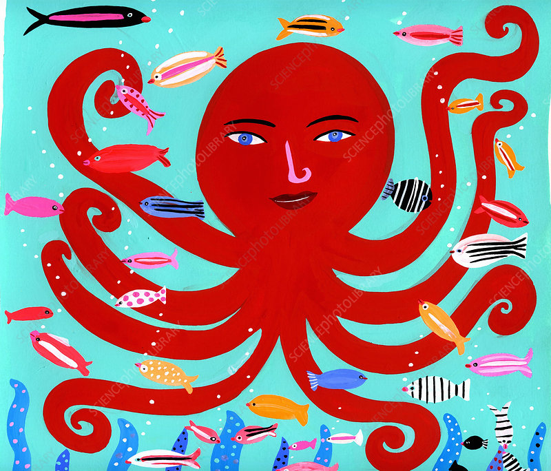Happy octopus and fish in ocean, illustration