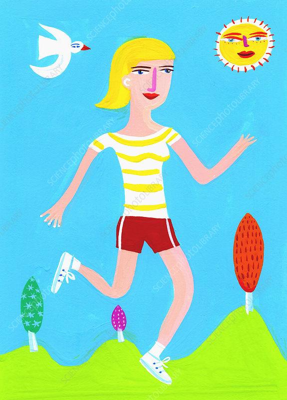 Woman running on sunny day, illustration