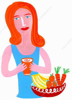 Woman drinking healthy juice, illustration