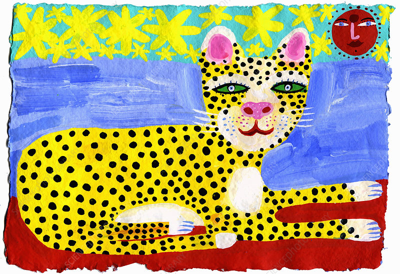 Happy leopard relaxing in sun illustration