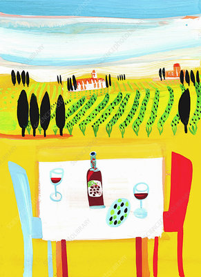 Red wine on table in Italian vineyard, illustration