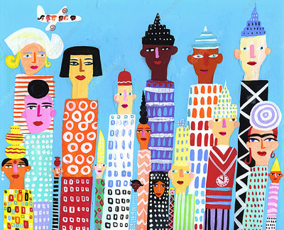 City skyscrapers with multi-ethnic faces, illustration
