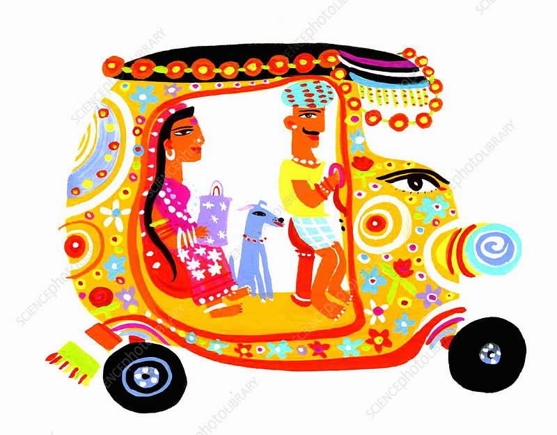 Man driving ornate auto rickshaw, illustration