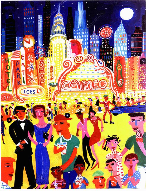 Busy nightlife in New York City, United States, illustration