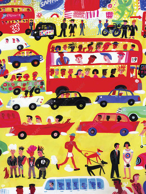 Traffic in Piccadilly Circus, London, illustration