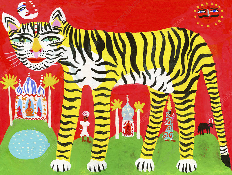 Striped tiger in traditional Indian scene, illustration