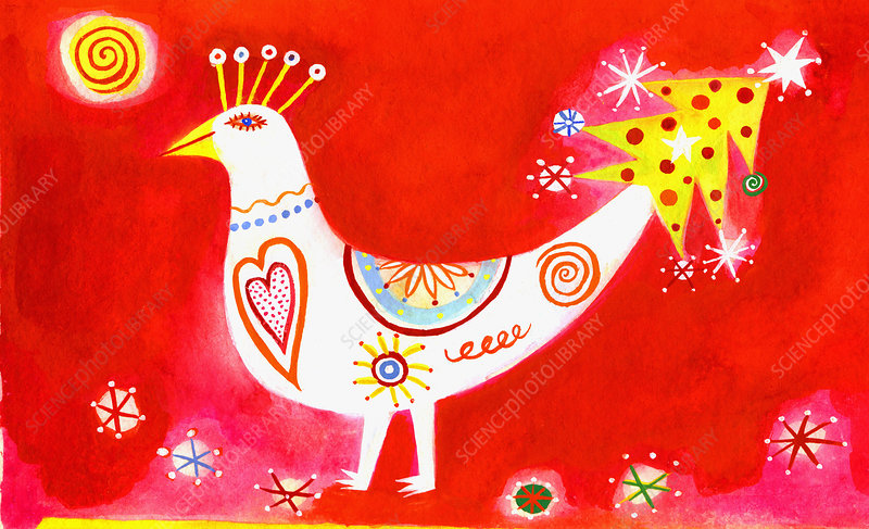 Bird with christmas tree tail, illustration