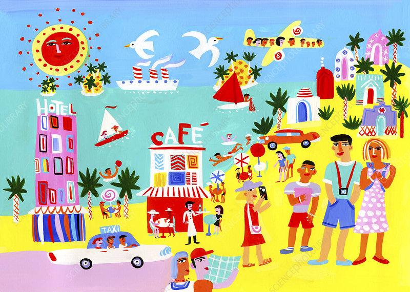 Tourists enjoying sightseeing, illustration