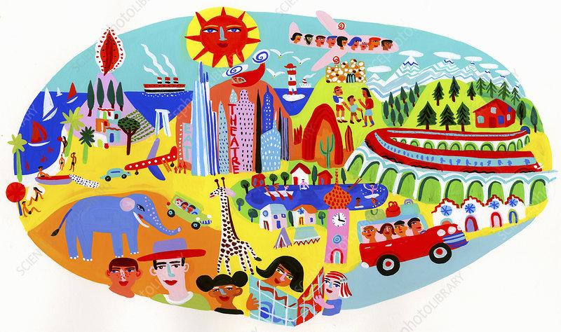 Tourists enjoying different types of holidays, illustration