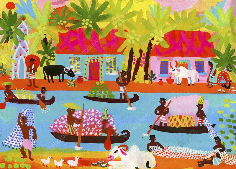 Village life in Kerala, India, illustration