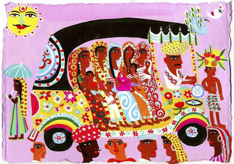 Women and children in ornate auto rickshaw, illustration