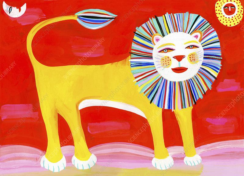 Colourful lion, illustration