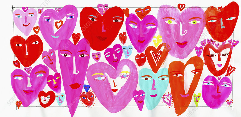 Lots of hearts with smiling faces, illustration