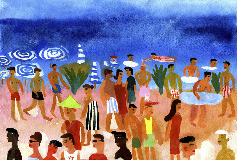 People walking on beach and swimming, illustration