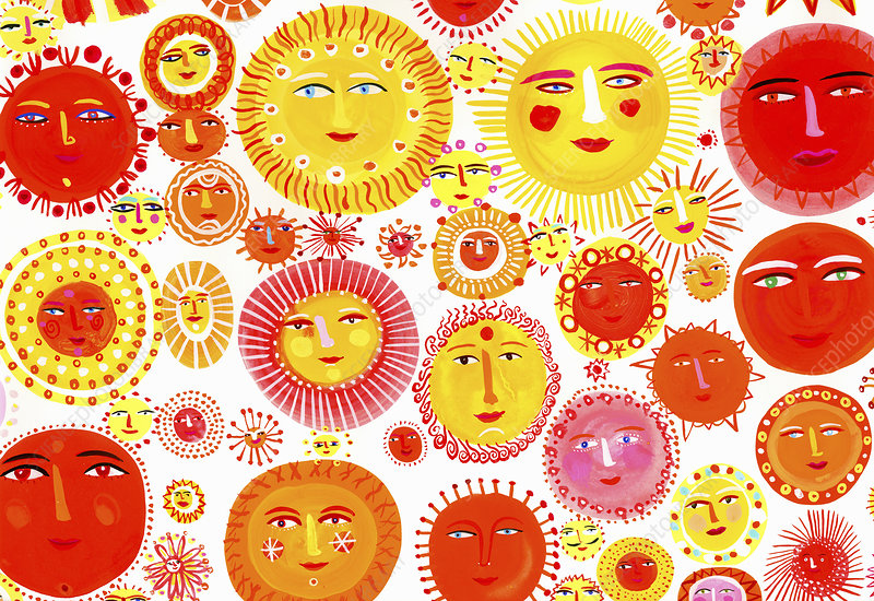 Lots of suns with smiling faces, illustration